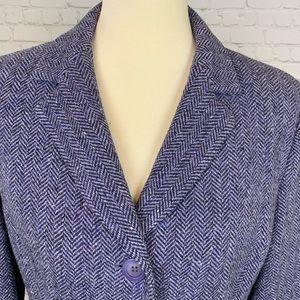 Kasper Tweed Purple Wool Jacket Size 12